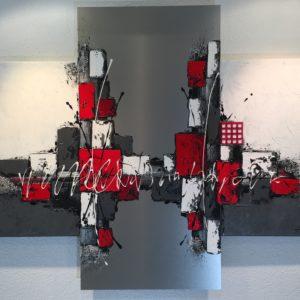 Patchwork rouge et gris – 50x100cm